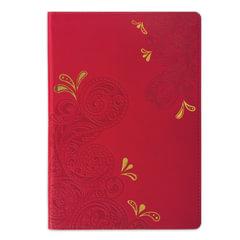 Бизнес-блокнот BRAUBERG, А5, 148×218 мм, «Orient», кожзаменитель с тиснением, клетка, 128 л., красный