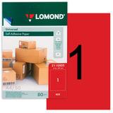 Этикетка самоклеящаяся LOMOND на листе А4, 1 этикетка, размер 210×297 мм, красная, 50 л., 2110005