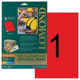 Этикетка самоклеящаяся LOMOND на листе А4, 1 этикетка, размер 210×297 мм, неоновая красная, 50 л., 2010005
