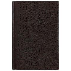 Ежедневник датированный 2018, А5, BRAUBERG «Comodo», «кожа крокодила», кремовый блок, золотой срез, коричневый, 138×213 мм