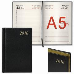 Ежедневник датированный 2018, А5, BRAUBERG «Iguana», «кожа змеи», кремовый блок, золотой срез, черный, 138×213 мм