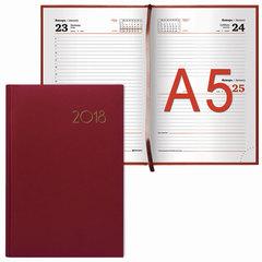 Ежедневник датированный 2018, А5, BRAUBERG «Select», «кожа классик», красный, 138×213 мм