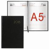 Ежедневник датированный 2018, А5, BRAUBERG «Select», «кожа классик», черный, 138×213 мм