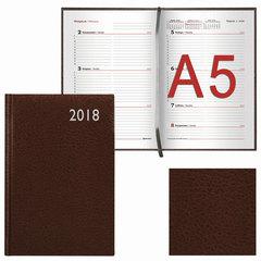 Еженедельник датированный 2018, А5, BRAUBERG «Profile», «фактурная кожа», коричневый, 145×215 мм