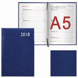 Еженедельник датированный 2018, А5, BRAUBERG «Profile», «фактурная кожа», синий, 145×215 мм