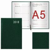 Еженедельник датированный 2018, А5, BRAUBERG «Profile», «фактурная кожа», зеленый, 145×215 мм