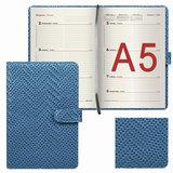 Еженедельник датированный 2018, А5, BRAUBERG «Instinct», глянцевый, магнитная застежка, синий, 145×215 мм