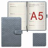 Еженедельник датированный 2018, А5, BRAUBERG «Instinct», глянцевый, магнитная застежка, серебро, 145×215 мм
