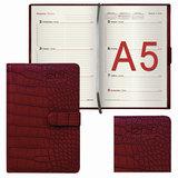 Еженедельник датированный 2018, А5, BRAUBERG «Party», «крокодил», магнитная застежка, красный, 145×215 мм