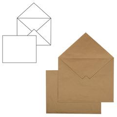 Конверт С3+, комплект 500 шт., без клеевого слоя, крафт-бумага, коричневый, треугольный клапан, 360×460 мм