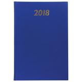 Ежедневник датированный 2018, А5, твердый переплет, обложка бумвинил, синий, 145×215 мм, BRAUBERG