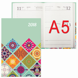 Ежедневник 2018, А5, обложка 7БЦ, орнамент, 160 л., 145×215 мм, BRAUBERG