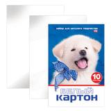 Белый картон, А4, мелованный, 10 листов, в папке, HATBER VK, «Белый щенок», 195×290 мм, 10Кб4 15023