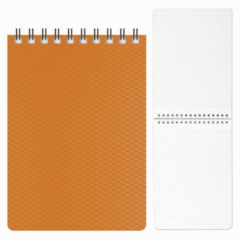 "Блокнот А6, 80 л., гребень, пластиковая обложка, HATBER, ""DIAMOND-оранжевый"", 110х145 мм, 80Б6B1гр 02035"