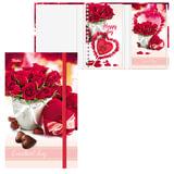 Записная книжка+блокнот, А6, 80+50 л., гребень/<wbr/>склейка, на резинке, HATBER, «Розы», 80+50ЗКт6Вгр 15438