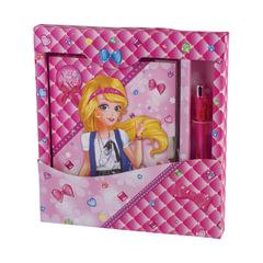 Блокнот 7БЦ, А5, 56 л., металлический замок+ручка, подарочная упаковка, BRAUBERG «Красивая девочка», 130×175 мм