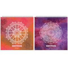 Альбом для эскизов (скетчбук), белая бумага, 250×250 мм, 160 г/<wbr/>м<sup>2</sup>, 60 листов, гребень, жёсткая подложка