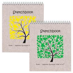 Блокнот для эскизов (скетчбук), черная бумага, А5+, 170×200 мм, 140 г/<wbr/>м<sup>2</sup>, 20 листов, гребень, жёсткая подложка
