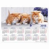 Календарь А2 на 2018 г., HATBER, 45×60 см, горизонтальный, «Кошки», Кл2 16936