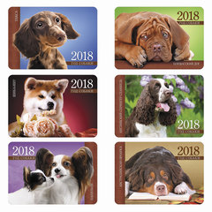 Календарь карманный на 2018 г., HATBER, 7×10 см, лакированный, «Год собаки-породы», Кк7
