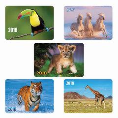 Календарь карманный на 2018 г., HATBER, 7×10 см, лакированный, «Животные», Кк7