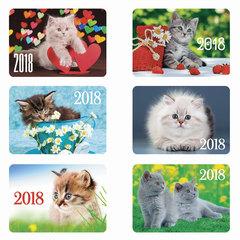 Календарь карманный на 2018 г., HATBER, 7×10 см, лакированный, «Котята», Кк7