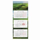 Календарь квартальный на 2018 г., HATBER, Люкс, 3-х блочный, на 3-х гребнях, «Изумрудные холмы», 3Кв3гр2 16638