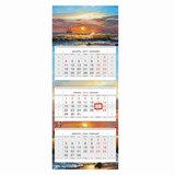 Календарь квартальный на 2018 г., HATBER, Люкс, 3-х блочный, на 3-х гребнях, «Морской вид», 3Кв3гр2 16874