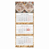 Календарь квартальный на 2018 г., HATBER, Люкс, 3-х блочный, на 3-х гребнях, «Старинная карта», 3Кв3гр2 14500