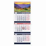 Календарь квартальный на 2018 г., HATBER, Офис, 3-х блочный, на 3-х гребнях, «Волшебная природа», 3Кв3гр3 10109