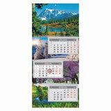 Календарь квартальный на 2018 г., HATBER, ЭкстраЛюкс, 3-х блочный, на 3-х гребнях, «Времена года», 3Кв3гр3 10987