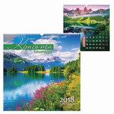 Календарь на гребне с ригелем на 2018 г., 45×45 см, HATBER, 6 л., «Красота природы», 12Кнп3гр 16833
