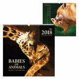 Календарь на гребне с ригелем на 2018 г., 45×45 см, HATBER, 6 л., «Мамы и малыши», 12Кнп3гр 16811