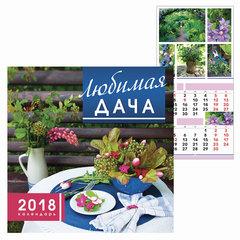 Календарь настенный перекидной на 2018 г., 6 л., 30×30 см, HATBER, «Любимая дача», 6Кнп4 16867