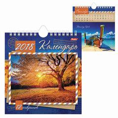 Календарь-домик на 2018 г., HATBER, на гребне с ригелем, 160×170 мм, «Пейзажи», 12КД5гр 14485