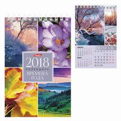 Календарь-домик на 2018 г., HATBER, на гребне, 160×105 мм, вертикальный, «Времена года», 12КД6гр 16824