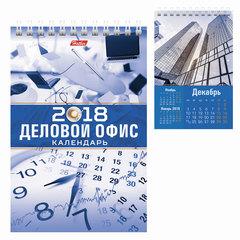 Календарь-домик на 2018 г., HATBER, на гребне, 160×105 мм, вертикальный, «Деловой офис», 12КД6гр 16823