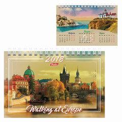 Календарь-домик на 2018 г., HATBER, на гребне, 160×105 мм, горизонтальный, «Европа», 12КД6гр 16351
