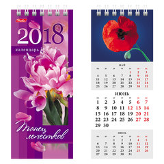 Календарь-домик на 2018 г., HATBER, на гребне, 70×165 мм, вертикальный, «Танец лепестков», 12КД6гр 16528