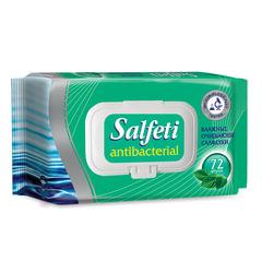 Салфетки влажные, 72 шт., SALFETI «Antibacterial», антибактериальные, крышка-клапан
