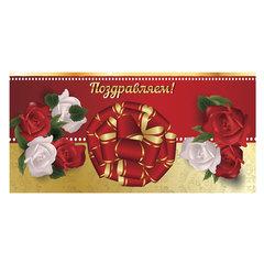 Конверт для денег «Поздравляем», 166×82 мм, выборочный лак, «золотой», BRAUBERG