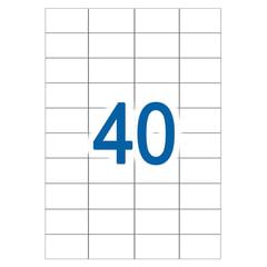 Этикетка самоклеящаяся УДАЛЯЕМАЯ, 40 этикеток 52,5×29,7 мм, белые, 65 г/<wbr/>м<sup>2</sup>, 50 л., STAFF