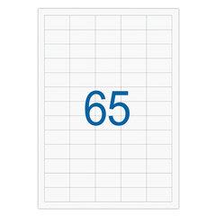 Этикетка самоклеящаяся А4, 65 этикеток 38×21,2 мм, белые, 65 г/<wbr/>м<sup>2</sup>, 50 л., STAFF
