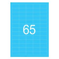 Этикетка самоклеящаяся А4, 65 этикеток 38×21,2 мм, неоновая голубая, 65 г/<wbr/>м<sup>2</sup>, 50 л., STAFF