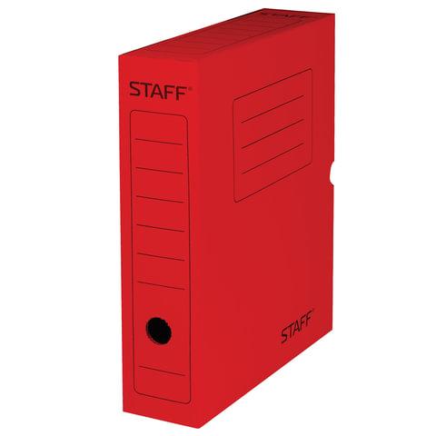 Короб архивный с клапаном, микрогофрокартон, 75 мм, до 700 листов, красный, STAFF