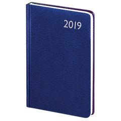 Еженедельник датированный 2019 г., А5, BRAUBERG «Profile», фактурная кожа, синий, 145×215 мм