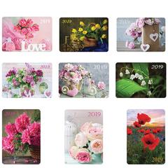 Календарь карманный на 2019 г., HATBER, 7×10 см, ламинированный, «Цветы», Кк7