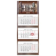 Календарь квартальный на 2019 г., HATBER, «Люкс», 3-х блочный, на 3-х гребнях, «City Style», 3Кв3гр2ц 18265