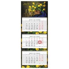 Календарь квартальный на 2019 г., HATBER, «Люкс», 3-х блочный, на 3-х гребнях, «Весенний букет», 3Кв3гр2ц 18676