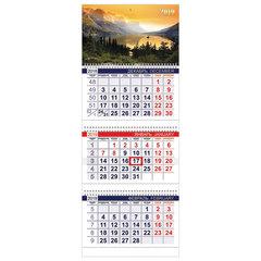 Календарь квартальный на 2019 г., HATBER, «Офис», 3-х блочный, на 3-х гребнях, «Закат в горах», 3Кв3гр3 13738